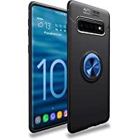 iCoverCase Compatible with Samsung Galaxy S10 Plus (S10+) Case,[Invisible Matal Ring Bracket][Magnetic Support]Shockproof Anti-Scratch Ultra-Slim Protective Cover Case with Kickstand (Blue+Black)