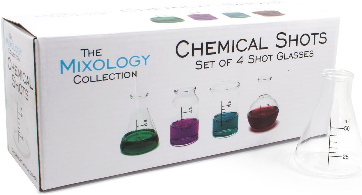 Jeray Mixology Set of 4 Chemical Shot Glasses Chem Lab 1.7 oz by Jeray