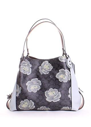 fe4b3cc6d6 Amazon.com  Coach Edie 31 Signature Rose Shoulder Bag in Charcoal Sky   Clothing