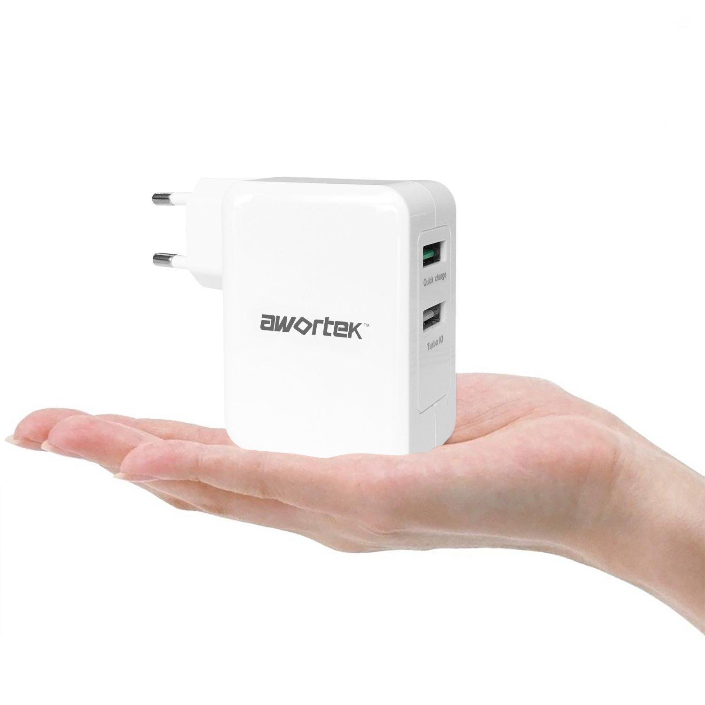 awortek 2-Port QC 3.0 wandstecker Ladestation Quick Charge 3.0 Qualcomm Quick Charge 3.0 Schnellladen USB Universal Ladegerät für Handy Smartphone zum ...