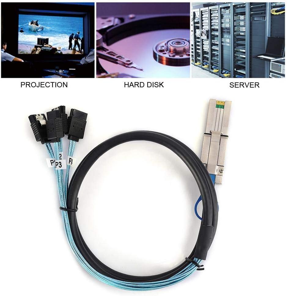 fosa1 G0204 Mini SAS Data Transmission Cable SFF-8088 26P to 4 SATA Server Hard Drive Cord 1M Support 3Gbps x 4Lane Mini SAS to SATA Adapter Line 1M