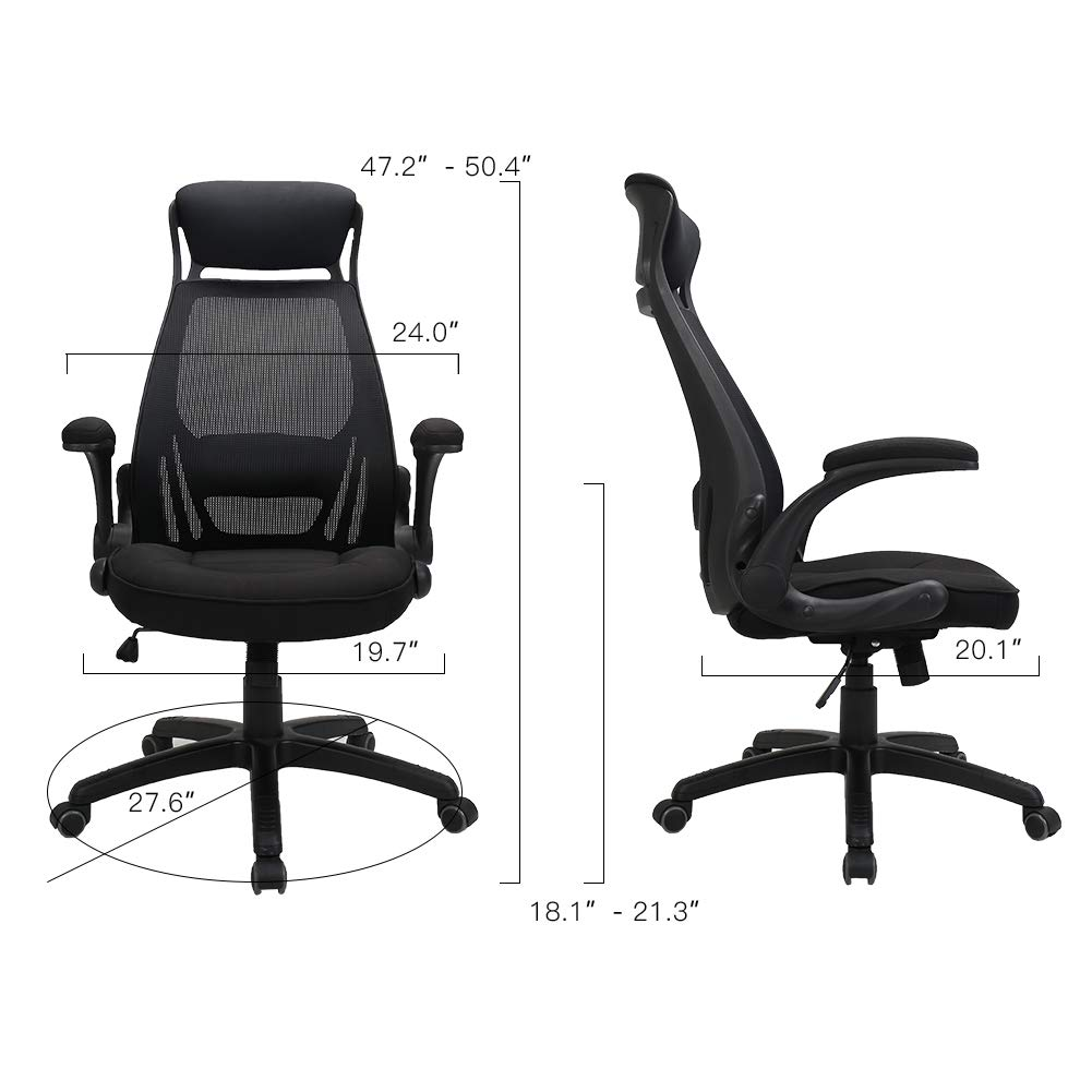 TKEY Ergonomic High Back Mesh Office Chair with Adjustable Armrest Lumbar Support Headrest Recliner Swivel Task Desk Chair Computer Chair Guest Chairs Reception Chairs Black
