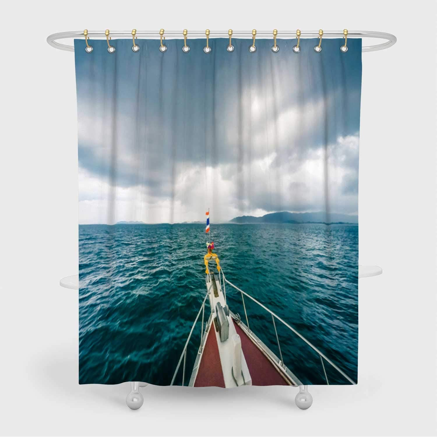 ALUONI Boat in Extreme Weather Tornado Shower Curtain,Hurricane with Hooks,72x96in