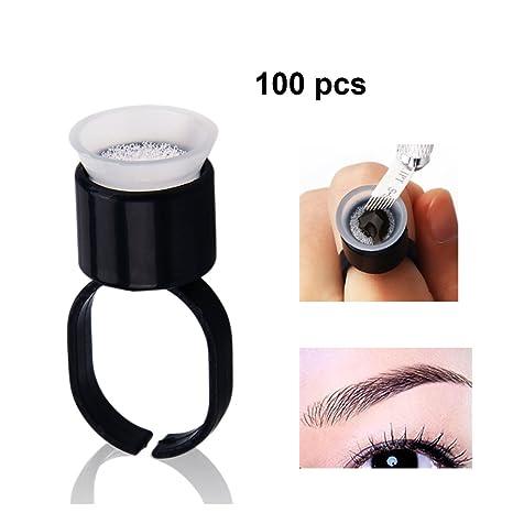 Guapa 100 Unids Pegamento de Maquillaje Anillos de Dedos Copas de Esponja Titular de La Tinta