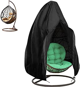 "Bbuyagain Patio Hanging Egg Chair Cover with Zipper Single Wickers Egg Swings Chair Cover Waterproofs Windproof Anti-UV Dust Outdoor Lawn Garden Double-Cocoon Chair Cover 75"" x 45"", Black"