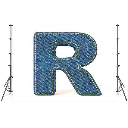 Amazon com : Letter R Stylish Backdrop, Retro Denim Style Alphabet