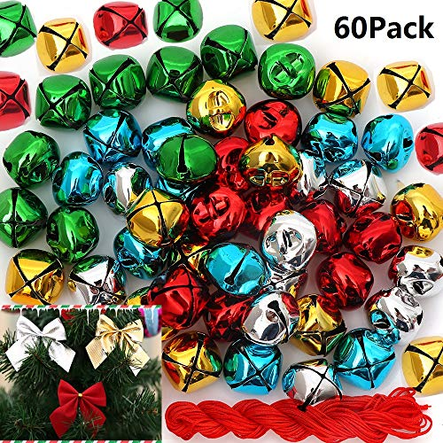 - 60Pack1 Inch Jingle Bells Christmas Colorful Bells For Christmas & Party & Festival Decorations