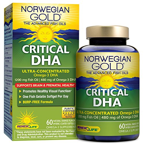 Norwegian Gold – Critical DHA – Omega 3 fish oil DHA supplement – burpless – DHA prenatal and brain health – 60 softgel capsules – a Renew Life brand