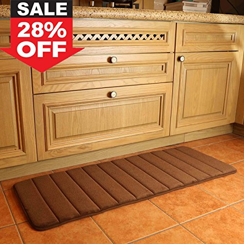 "K-MAT 47"" x 17"" Long Anti-Fatigue Memory Foam Kitchen Mats Bathroom Rugs Extra Soft Non-Slip Water Resistant Rubber Back Anti-slip Runner area rug for Kitchen and Bathroom Brown"