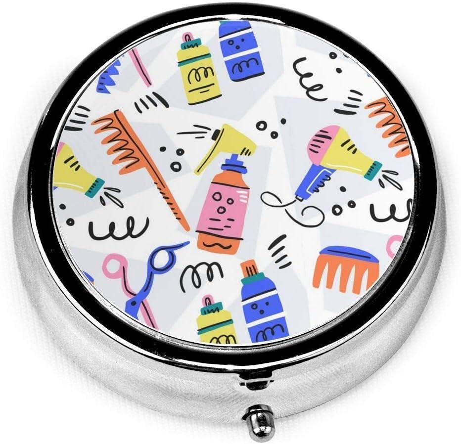 Caja de pastillas redonda para salón de mascotas, caja decorativa de acero plateado personalizada de dibujos animados, caja de tableta de medicina para bolsillo o billetera, regalo único