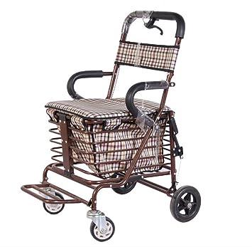 Silla de ruedas Anciano Andador, Walking Aid, Carro de Compras Viejo, Carro de Cuatro Ruedas: Amazon.es: Hogar