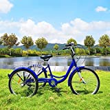 Happybuy Adult Tricycle 20in Single Size Cruise Bike Adjustable Trike Cruiser Bicycles Large Size Basket for Recreation Exercise (Blue 20 1Speed)
