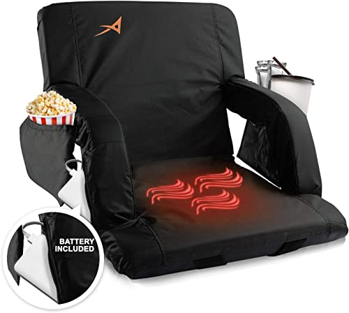 Heated Stadium Bleacher Seat USB Battery Included – Foldable Adjustable Chair – Foam Cushion, Back Arm Support, 4 Pockets for Snacks, Cup Holder – for Camping, Outdoors, Indoor, Games Sports