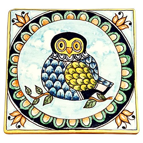 Owl Tile (CERAMICHE D'ARTE PARRINI - Italian Ceramic Art Tile Pantiles Pottery Hand Painted Decorated Owl Made in ITALY Tuscan)