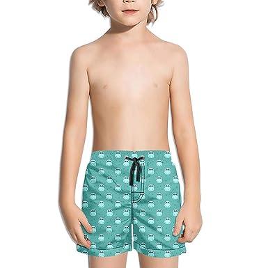 0521dda0da Amazon.com: Cute Colorful Hippo with Stars Youth Swim Trunks 10-12 Kids  Board Shorts: Clothing