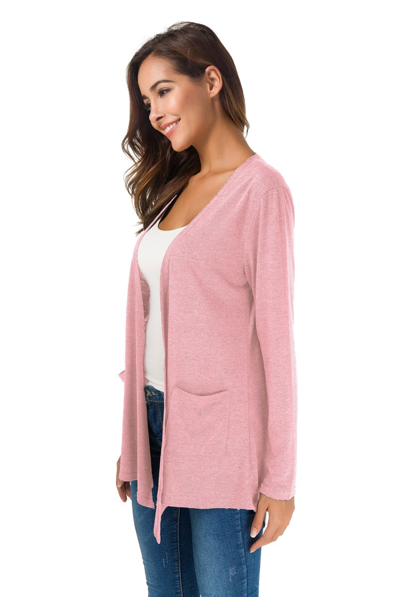 NB Women's Extra Soft Natural Classic Long Sleeve Irregular Hem Open Drape Style Cardigan Pocket (Pink, XL) by NB (Image #4)