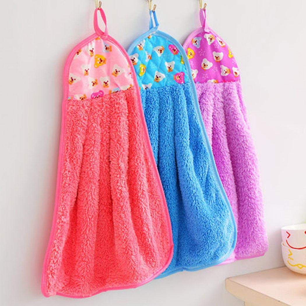 Zokeo Kitchen Cartoon Pattern Hanging Cleaning Absorbent Cloth Coral Velvet Towel Hand Towels