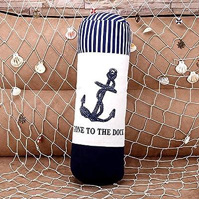 "Hiltow Decorative Nautica Throw Pillow - 18"" X 6"" Blue Boat Anchors"