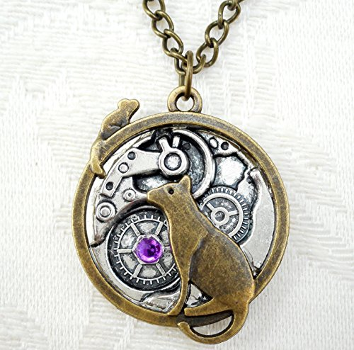 Steampunk Necklace w/ Cat & Mouse over Watch Base Pendant, Gift for Geek Feline Sci Fi Fantasy Lover