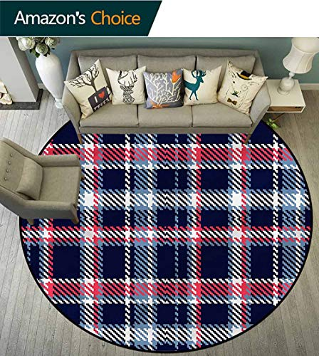 RUGSMAT Checkered Washable Creative Modern Round Rug,Geometrical Mosaic Floor Mat Home Decor Round-59