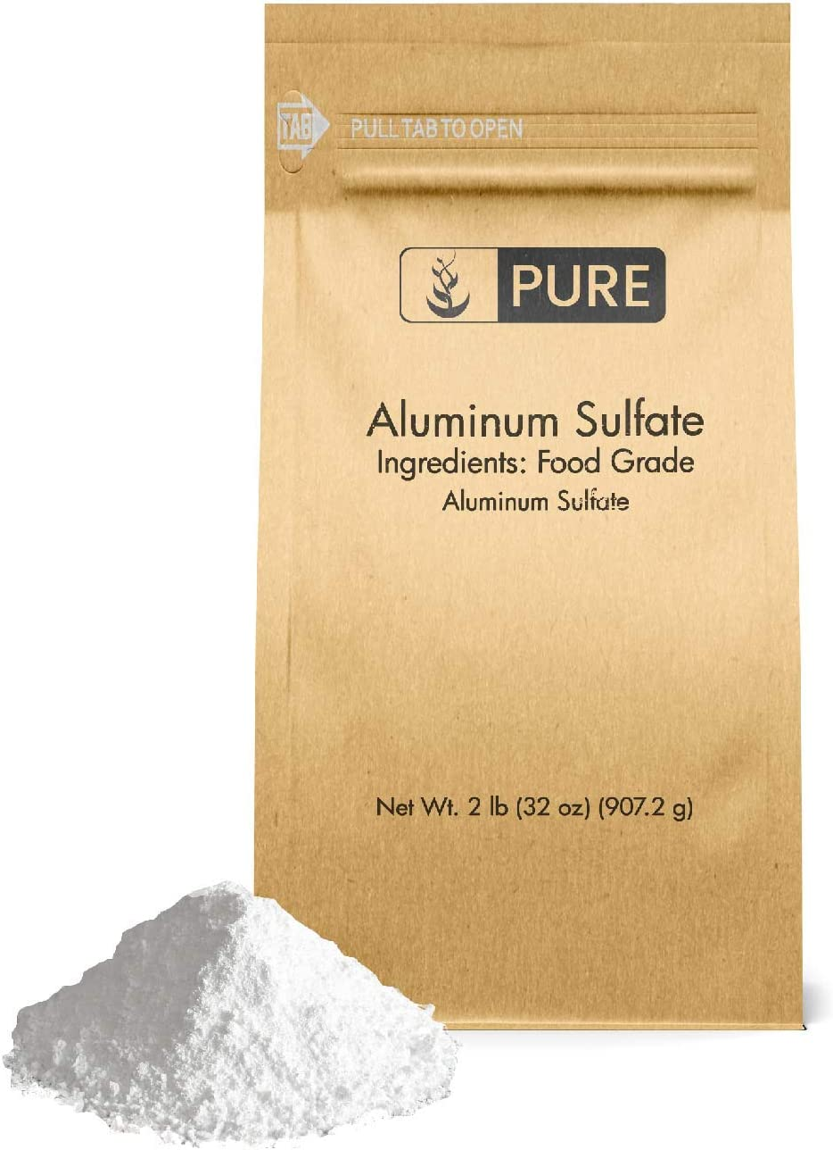 Aluminum Sulfate (2 lb.) by Pure Organic Ingredients, Pure Dry Alum, Soil Acidifier, Hide Tanner, Water Treatment (Also Available in 4 oz & 1 lb)