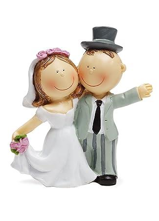 Brautpaar als Tortendeko, winkend, 90 mm