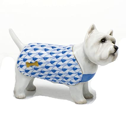 Amazon com: Herend West Highland Terrier Dog Figurine Blue Fishnet