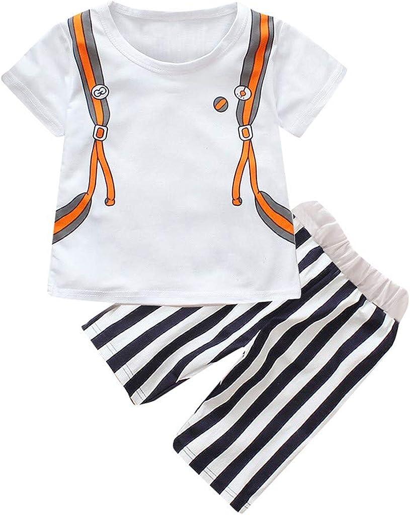 Kids Short Sleeve Cartoon Schoolbag Tops T-Shirt+Stripe Shorts Set Willsa Baby Boy Outfits