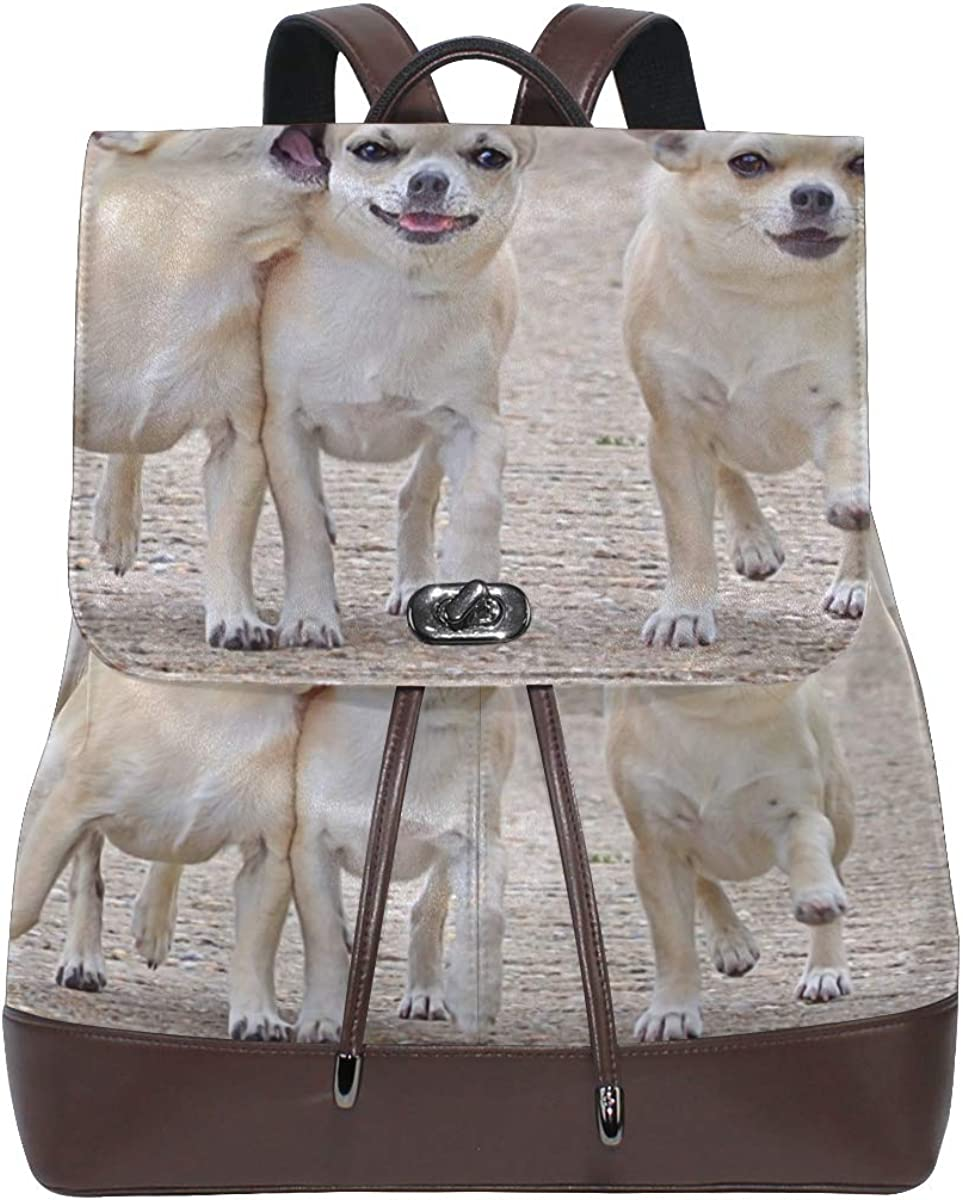 PU Leather Shoulder Bag,Chihuahua Three Friends Comrades Dog Walk Backpack,Portable Travel School Rucksack,Satchel with Top Handle