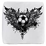 13 Inch 6-Sided Cube Ottoman Soccer Ball Futbol Angel Wings
