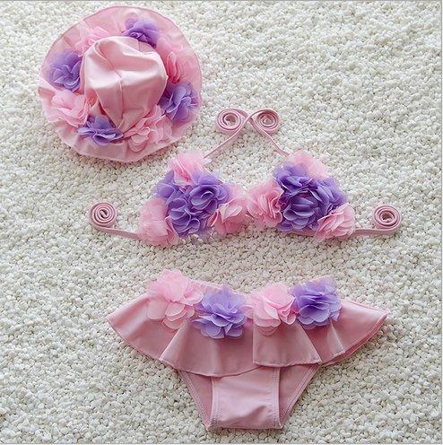 제비--화공 유아용 수영복 여 아 수영복 비키니 수영 용품 아동 수영복 어린이 수영복 모자 있는 아 분할 레이스 프 릴 스위트 걸즈 3 점 세트 (L (키 85-95CM 무게 10-15kg) 핑크) / Swallowy Baby Swimsuit Girls` Swimsuit Bikini Swimming Wear ...