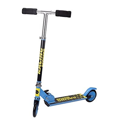 Flantor Kids Kick Scooter, 2 Wheels Adjustable Height Handlebars and Foldable Scooter for Children with Protection Gear Set (Blue Yellow) : Sports & Outdoors