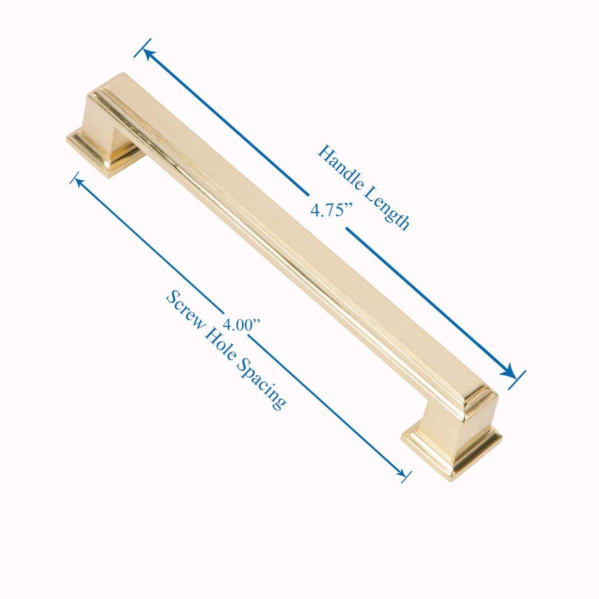 Southern Hills Brushed Brass Cabinet Handles- 5 Pack 4.75 Inches Total Length 4 Inch Screw Spacing Modern Cabinet Hardware YJ0660-101-BRS-5 Satin Brass Drawer Pulls