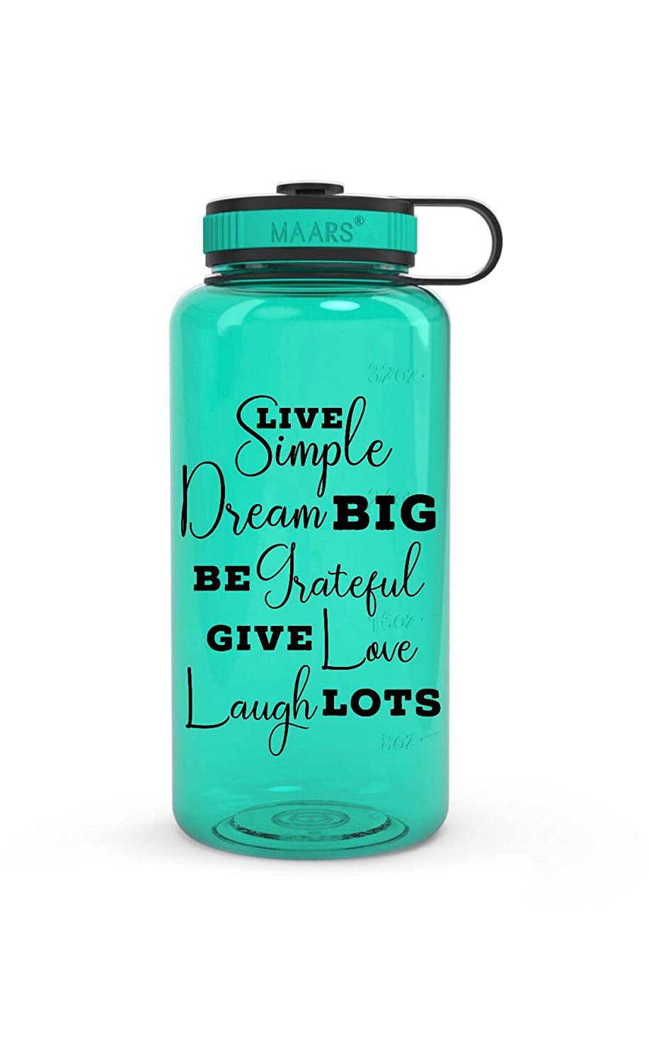 Live Simply Dream Big Be Grateful Give Love Laugh Lots Sports Fitness Water Bottle 32 Ounce Wide Mouth with Raised Water Marking Tracker