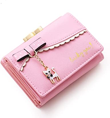 White Love Cat Kitty Heart Wallet Real Leather Purse Credit Card Holder for Women Phone Girl