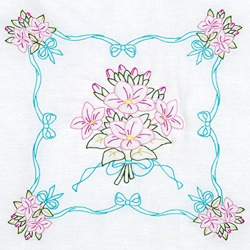 - Jack Dempsey 732 577 Stamped White Quilt Blocks, 18 by 18-Inch, Star Flower Bouquet, 6-Pack