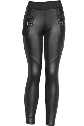 Faux Leather Leggings With Pockets