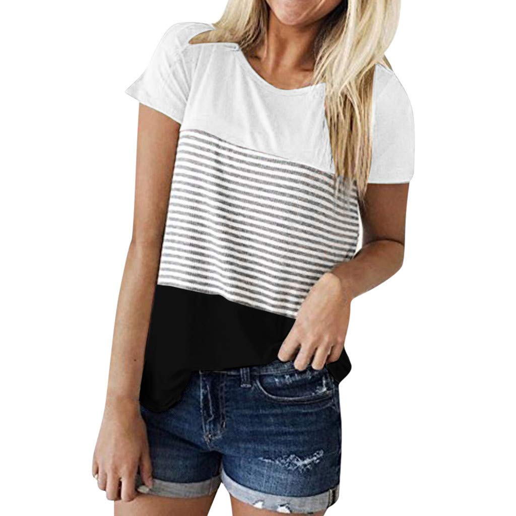 Womens Shirts T-Shirts for Women Casual Top Lady Short Sleeve Striped Top Black
