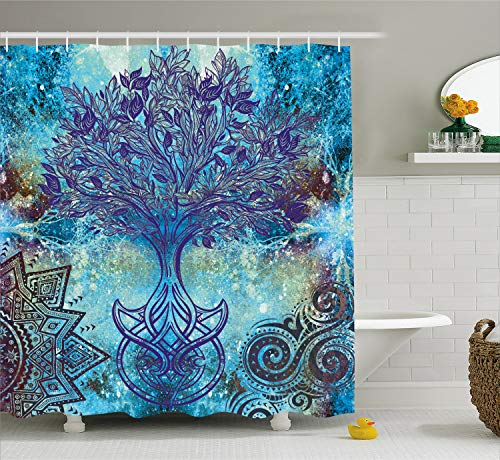 Ambesonne Ethnic Shower Curtain, Grunge Style Tree Pattern with Ethnic Mandala and Spiral Shapes Blurry Artwork, Fabric Bathroom Decor Set with Hooks, 70 Inches, Turquoise Brown (Shower Curtain Tapestry)