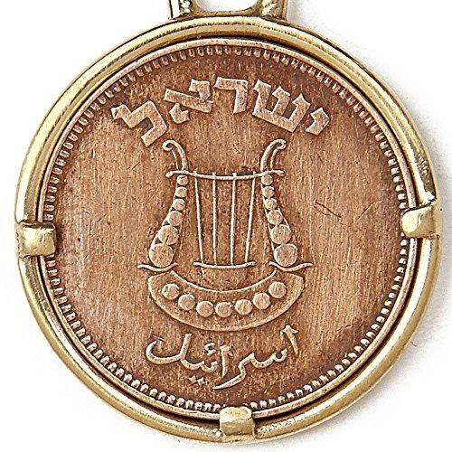 Harp Coin - Old Harp Copper Coin Israeli Pendant Necklace, 19.7