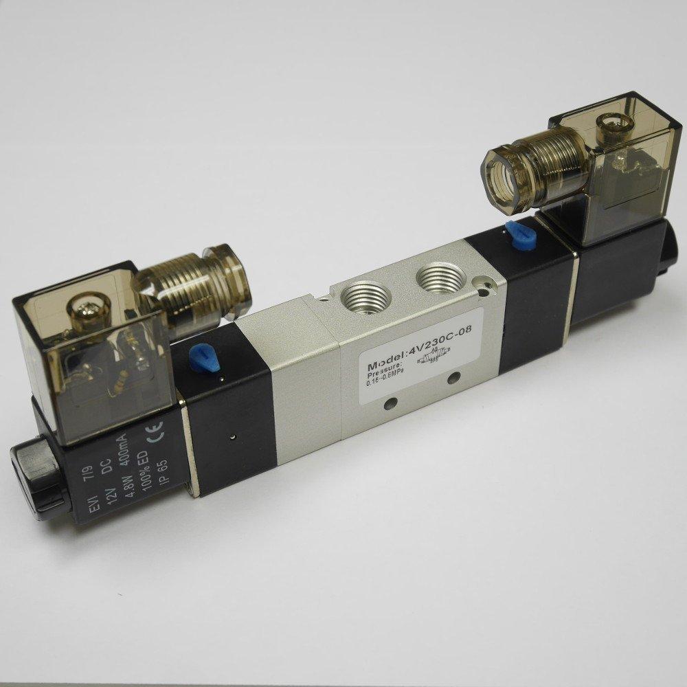 5//3 way Pneumatic Electric Directional Control Solenoid Valve 1//4 NPT 4V230C-08-DC12V