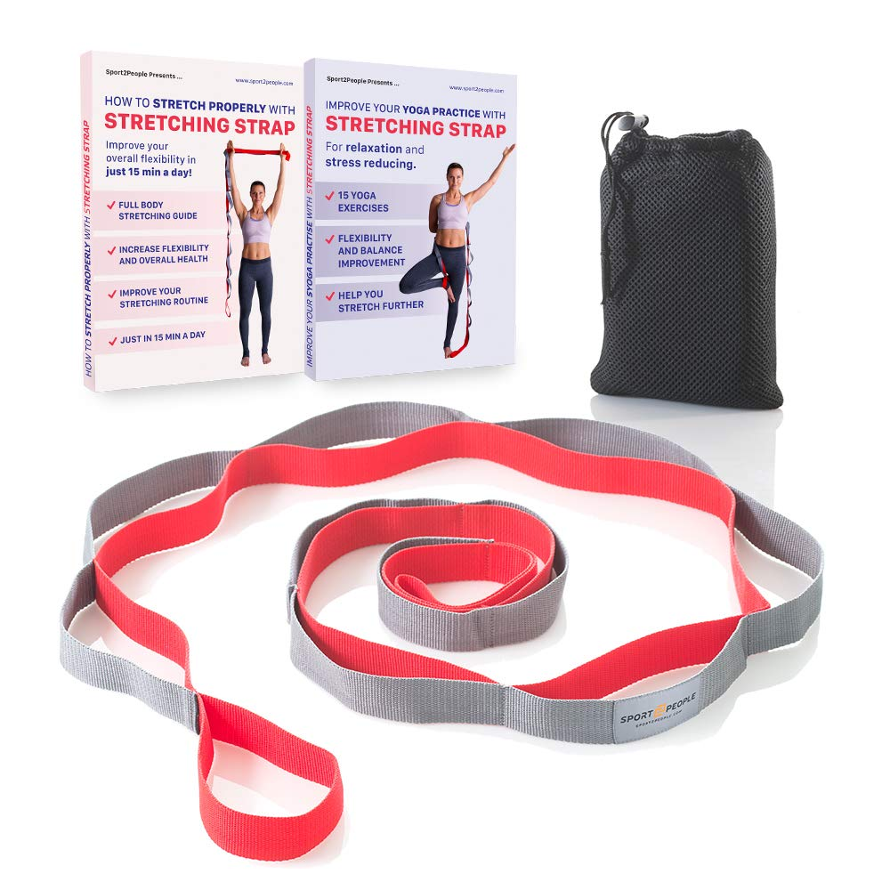 Sport2People Yoga Strap for Stretching and Rehabilitation– Rehab Stretch Band with 12 Loops to Improve Your Flexibility - Physical Therapy Equipment by Sport2People