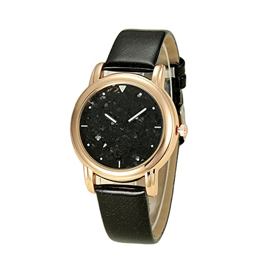 MODIWEN Strap Watches for Women Starry Glitter Dial Fashion Sparkle PU Leather Quartz Watch (Black