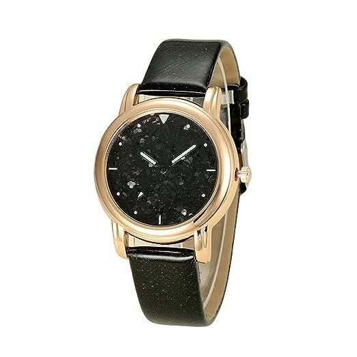 MODIWEN Strap Watches for Women Starry Glitter Dial Fashion Sparkle PU Leather Quartz Watch (Black