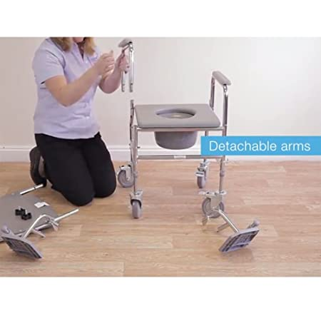 NRS Healthcare M66119 - Silla sanitaria con ruedas, asiento acolchado y respaldo, altura ajustable: Amazon.es: Salud y cuidado personal