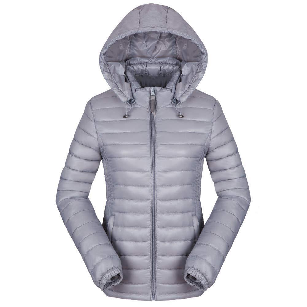 Dressin Womens Ultra Light Weight Down Packable Jacket Short Outwear Puffer Coats Gray