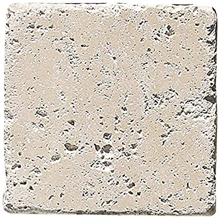 Chiaro Tumbled Travertine 1 SQFT White 6x6 TILE Ivory Light