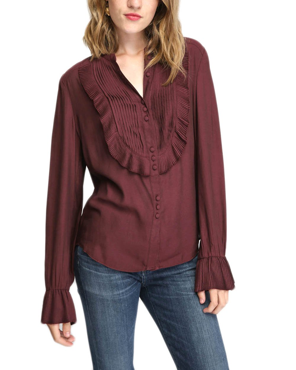 Free People Women's Pintuck Chiffon Blouse (Wine, Large)