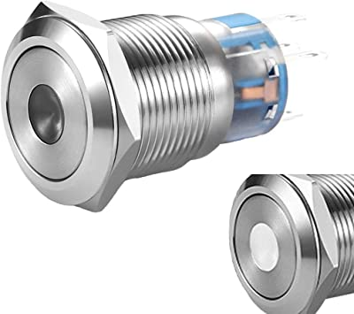 19mm Waterproof Self locking  Flat Round Stainless Steel Metal Push Button Switc