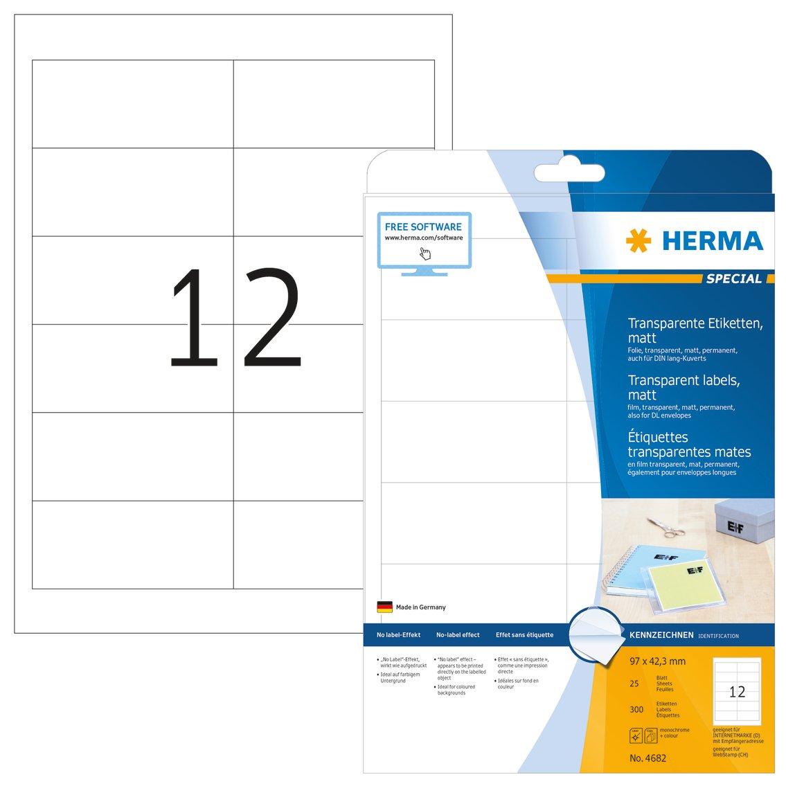 HERMA SuperPrint (96,5 x 42,3 mm), etichette con bordo, colore: Bianco 8628